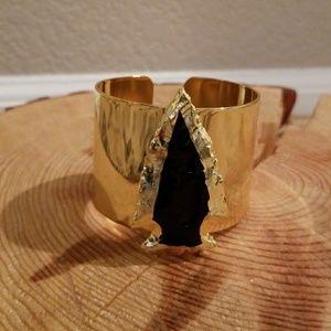 🧡 Onyx Arrowhead Gold Bracelet